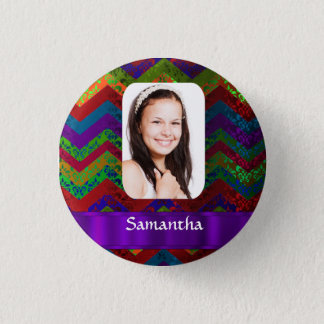Hippy chevron personalized photo template pinback button
