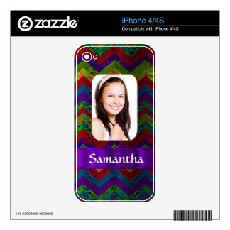 Hippy chevron personalized photo template iPhone 4 decals
