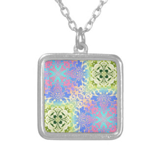hippy chic mandala turquoise aqua bohemian silver plated necklace