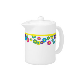 Hippy Chick Colorful Daisy Flowers Teapot