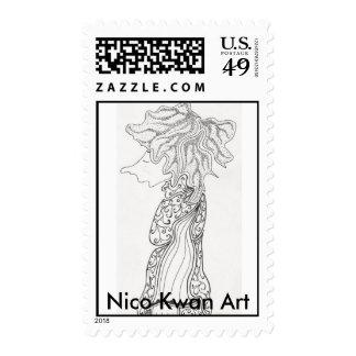 Hippy Chick, Nico Kwan Art Stamp