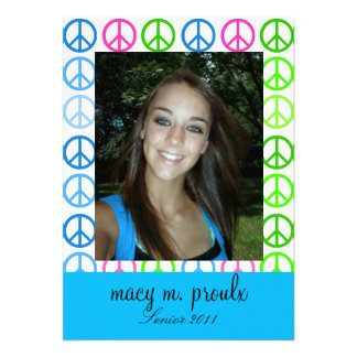 Hippy-Chick Peace Symbol Announcement Card