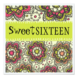 "Hippy Chick Totally Retro Sweet 16 Birthday Party 5.25"" Square Invitation Card"