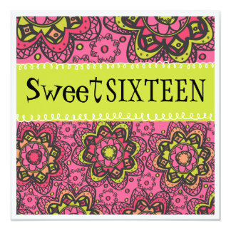 """Hippy Chick Totally Retro Sweet 16 Birthday Party 5.25"""" Square Invitation Card"""