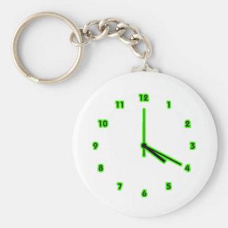 Hippy clock outline basic round button keychain
