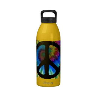 Hippy del teñido anudado 60s del signo de la paz botallas de agua