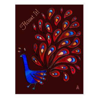 Hippy Dippy Peacock Flaunts It (Personalized) Postcard