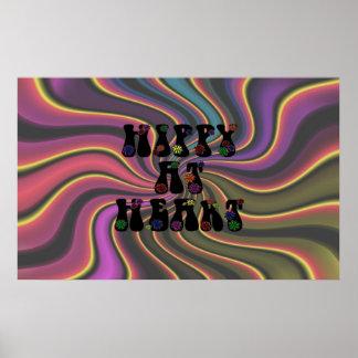 Hippy en el corazón 60s retro póster