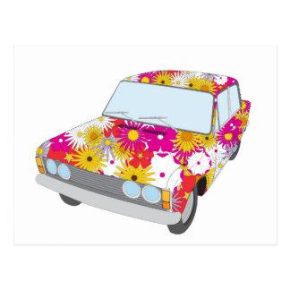 Hippy Flower Car Postcard
