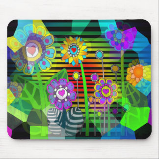 Hippy Flowers Mouse Pad