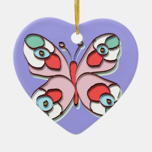 Hippy Fly Butterfly Christmas Ornament