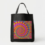 Hippy Fractal Pattern Pink Turquoise & Yellow Canvas Bags