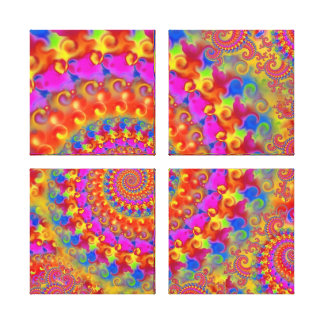 Hippy Fractal Pattern Pink Turquoise & Yellow Canvas Print