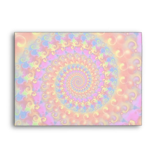 Hippy Fractal Pattern Pink Turquoise & Yellow Envelope
