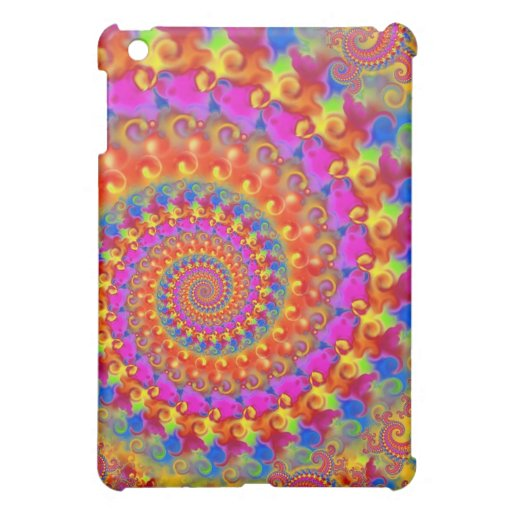 Hippy Fractal Pattern Pink Turquoise & Yellow iPad Mini Cover