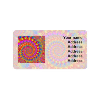 Hippy Fractal Pattern Pink Turquoise & Yellow Address Label