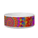 Hippy Fractal Pattern Pink Turquoise & Yellow Cat Bowls