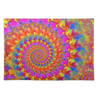 Hippy Fractal Pattern Pink Turquoise & Yellow Placemat