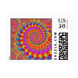 Hippy Fractal Pattern Pink Turquoise & Yellow Postage