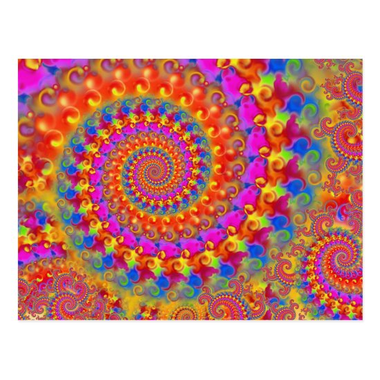 Hippy Fractal Pattern Pink Turquoise & Yellow Postcard