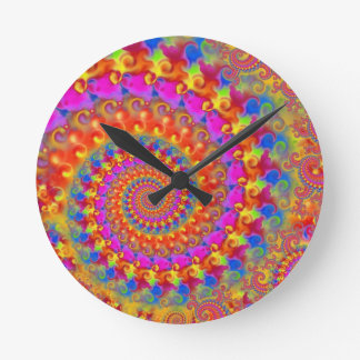 Hippy Fractal Pattern Pink Turquoise & Yellow Round Clock