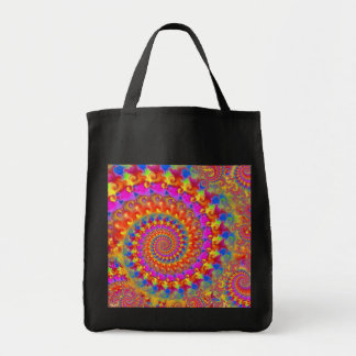 Hippy Fractal Pattern Pink Turquoise & Yellow Tote Bag