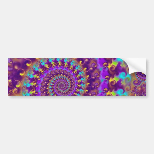 Hippy Fractal Pattern Purple Turquoise & Yellow Bumper Sticker