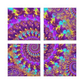 Hippy Fractal Pattern Purple Turquoise & Yellow Canvas Print