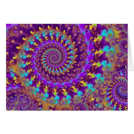 Hippy Fractal Pattern Purple Turquoise & Yellow Card