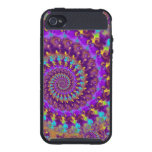 Hippy Fractal Pattern Purple Turquoise & Yellow iPhone 4/4S Cases