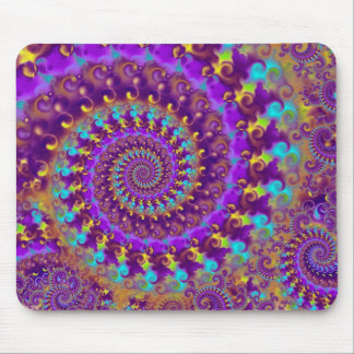 Hippy Fractal Pattern Purple Turquoise & Yellow Mousepad