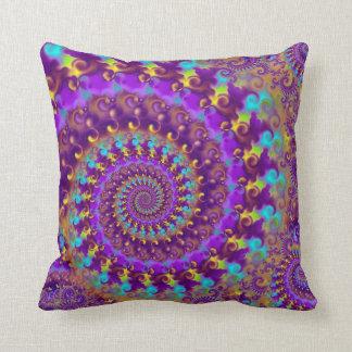 Hippy Fractal Pattern Purple Turquoise & Yellow Throw Pillows