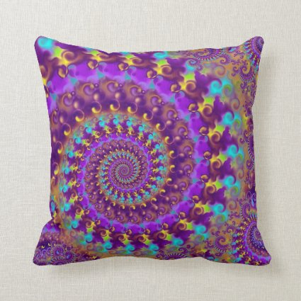 Hippy Fractal Pattern Purple Turquoise & Yellow Throw Pillows