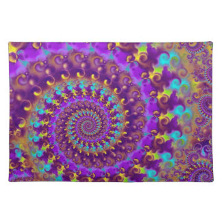 Hippy Fractal Pattern Purple Turquoise & Yellow Placemat