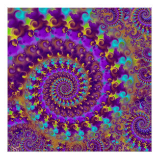 Hippy Fractal Pattern Purple Turquoise & Yellow Poster