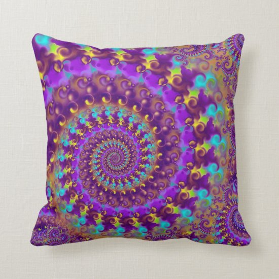 Hippy Fractal Pattern Purple Turquoise & Yellow Throw Pillow
