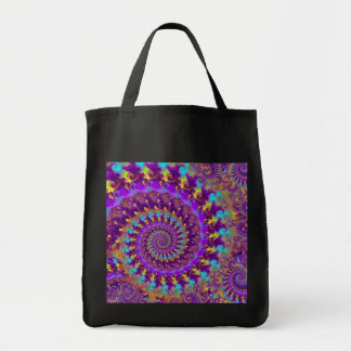 Hippy Fractal Pattern Purple Turquoise & Yellow Tote Bag