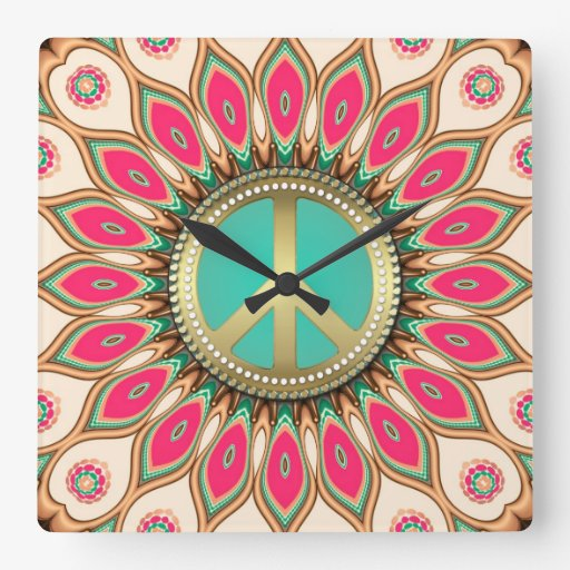 Hippy Groovy Love & Peace Sunflower Wall Flower Square Wall Clock