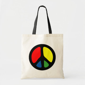 Hippy Groovy Peace Symbol Tote Bags