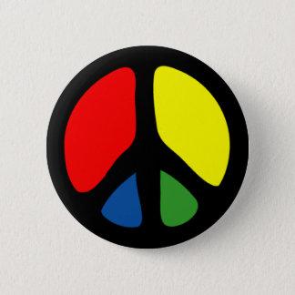 Hippy Groovy Peace Symbol Button