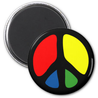 Hippy Groovy Peace Symbol 2 Inch Round Magnet