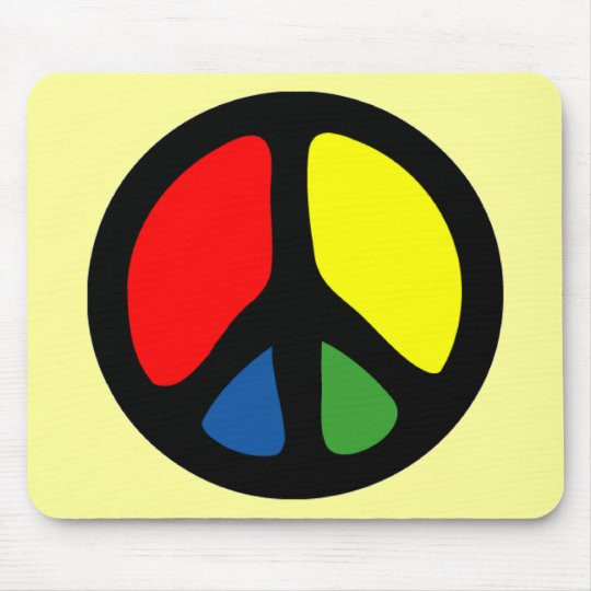 Hippy Groovy Peace Symbol Mouse Pad