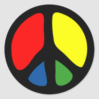 Hippy Groovy Peace Symbol Round Sticker