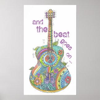 "Hippy Guitar 14"" x 24"" Poster"
