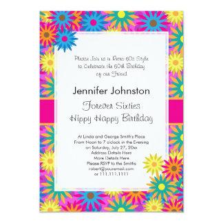 Hippy Happy Birthday 1960s Retro 60th BDay Party Card