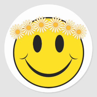 Hippy Happy Face Classic Round Sticker
