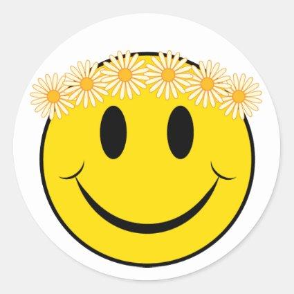 Hippy Happy Face Classic Round Sticker