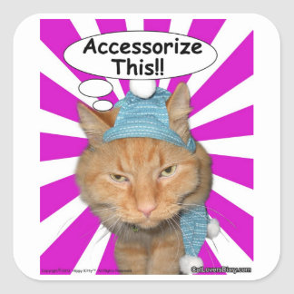 Hippy Kitty Accessorize This!! Square Sticker