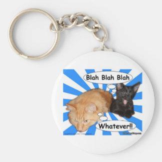 Hippy Kitty Blah Blah Blah Whatever!! Basic Round Button Keychain