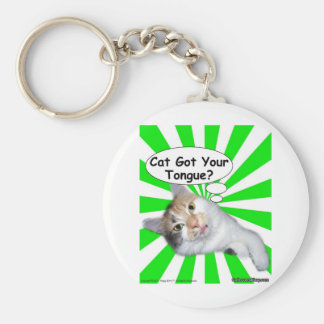 Hippy Kitty Cat Got Your Tongue? Basic Round Button Keychain